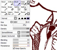 """ursais: """" Decided to post my brush settings in Paint Tool Sai in case anyone was curious. Sometimes I do adjust the B/D/P for different textures/smoothness, but for the most part this is how they are..."""