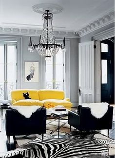 Black white gray and yellow living room, nice.