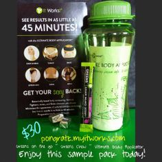 This is a GREAT sampler pack for someone wanting to sample the It Works Products! $30 includes the bottle, greens on the go, green chew and a wrap!!! Bigchadobey@gmail.com bigchad.myitworks.com Text 614-483-2220