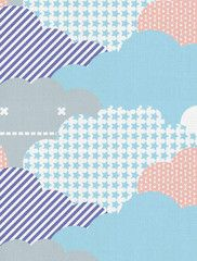 Clouds Designer Fabric by Aimée Wilder. Sold by the yard. Materials: 100% Cotton Sailcloth, Fine Belgian 50/50 Linen/Cotton Blend, 100% Belgian Linen, or 100% Organic Cotton Denim Length*: 1 yard (91.