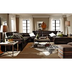 Carmel Cream Leather Collection | Furniture.com-4 Pc. Sectional ...