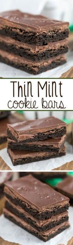 Thin Mint Cookie Bars - an easy cookie bar that tastes just like a Girl Scout Cookie Thin Mint! (cake in a cup unsweetened cocoa) Cookie Desserts, Just Desserts, Cookie Recipes, Delicious Desserts, Dessert Recipes, Delicious Chocolate, Yummy Food, Yummy Cookies, Yummy Treats