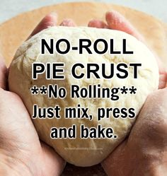 No-Roll Pie Crust - Just Mix, Press, and Bake - only No Roll Pie Crust Recipe, Pie Dough Recipe, Easy Pie Crust, Homemade Pie Crusts, Pecan Pie Crust Recipe, Apple Pie Recipe Easy, Easy Pie Recipes, Pie Crust Recipes, Apple Pie Recipes