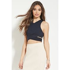 Forever 21 Women's  Cutout Crisscross-Hem Top (130 CNY) ❤ liked on Polyvore featuring tops, white top, white sleeveless top, v-neck tops, forever 21 tops and sleeveless tops