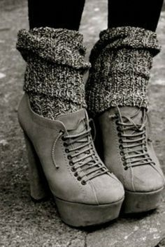 tights + slouchy socks + boots = perfect for fall...very cute with an sloppy oversized sweater and scarf or slouchy beanie