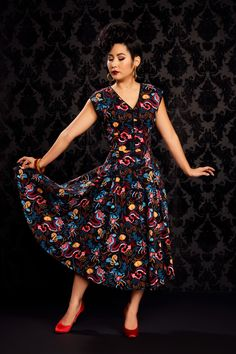 Pinup Couture Sandra Dress in Dragon Print | Vintage Style Sleeveless Dress | Pinup Girl Clothing