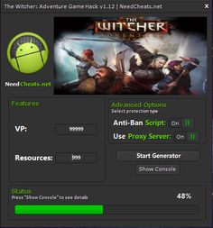 Download link: http://needcheats.net/witcher-adventure-game-cheats-vp/  It may save your valuable moment in addition to allow you to be amazingly strong. That crack software will certainly accentuate you VP in addition to Means as many as you need. That won't ask for want you to write about ones private information. They have anti hang up in addition to proxy webpage. That doesn't require origin upon android operating-system as well as jailbreak with iOS.