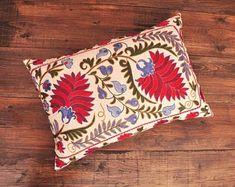 ikat fabric, throw pillow, ikat cushion, suzani, decor by DecorUZ Suzani Fabric, Velvet Upholstery Fabric, Ikat Pillows, Velvet Pillows, Couch Pillows, Designer Throw Pillows, Printed Silk Fabric, Sofa Pillow Covers, Decorative Pillow Cases