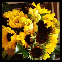 Sunflowers and tulips wedding bouquet by Trish Upshaw
