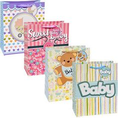 Voila Large Baby-Themed Gift Bag with Ribbon Handles