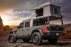 Jeep just unveiled six concept vehicles for the annual Moab Easter Jeep Safari. They are all Jeep Gladiator truck-based concepts. Auto Jeep, Jeep Pickup, Jeep Truck, Pickup Trucks, Jeep Tent, Hummer Truck, Jeep Camping, Jeep 4x4, Ford Trucks