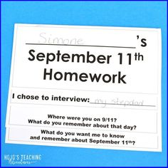Use this September 11th homework flipbook before Patriot Day to see what students know about this national day of mourning. It's a great way to bring schoolwork home to interview a family member or friend. Can't send it home? No worries! Bring in people to interview or set up a virtual interview for the entire class. Such a great way to bring recent history to life! #UpperElementary #PatriotsDay #SecondGrade #ThirdGrade #FourthGrade #FifthGrade #SixthGrade #September11 #Education Fifth Grade, Second Grade, Remembering September 11th, Day Of Mourning, Reading Recovery, Ell Students, Map Skills, 3rd Grade Classroom, Special Education Teacher