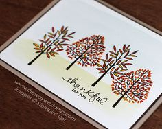 www.thewaywestamp.com Totally Trees with Endless Thanks by Stampin' Up! #thanksgivingcards #totallytrees #stampinup #juliedeguia #thewaywestamp
