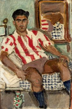 Yannis Tsarouchis Seated youth in Olympiakos jersey oil on canvas laid on panel Painting x cm Signed Greek Paintings, Queer Art, Art Of Man, Unusual Art, Gay Art, Contemporary Paintings, Caravaggio, Art Inspo, Art History