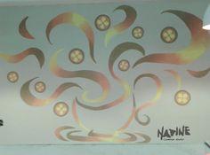 Arte para restaurante Hachi Feita tinta acrílica para parede com pigmento.