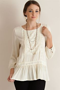 Lace Detail Ruffle Blouse - Natural - Knitted Belle Boutique  - 1