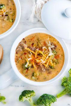 Spicy Broccoli Cheddar Sausage Soup | aberdeenskitchen.com