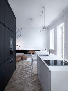 minimalistische küche-einbaugeräte weiß-schwarz Parkettboden skandinavisch-kamin