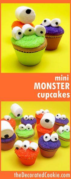 mini monster cupcakes -- easy Halloween treat idea