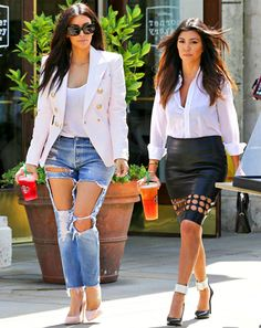 Sisters Kim Kardashian and Kourtney Kardashian make a coffee run in some rather questionable looks, take your best stab at captioning their photo here Kourtney Kardashian, Estilo Kardashian, Kim And Kourtney, Kardashian Style, Casual Chique, Casual Wear, 00s Mode, Chic Outfits, Fashion Outfits