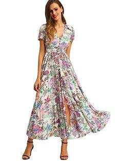 3fc008d98e27 Milumia Women's Button up Split Floral Print Flowy Party Maxi Dress Medium  Pink