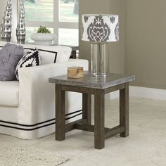 Home Styles Metal; Wood Chic End Table | Quill.com