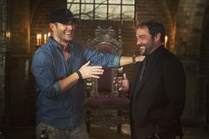 """Bossing around the King of Hell. #Supernatural"" via entertainmentweekly on Instagram .... awww love their smiles especially JENSEN'S SMILE ♥◡♥ #Supernatural BTS 11x03 The Bad Seed episode Directed by: Jensen Ackles 
