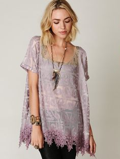 Venetian Florals Top by FreePeople. love the lace bottom and beaded top! such a delicate and sexy shirt! $228