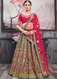 Your blushing Charm will come out when you will attire this gorgeous Carrot Red and Teal Green Color Silk Bridal lehenga Choli. This fancy red color lehenga decked with heavy embroidered work on whole attire. Designer Bridal Lehenga, Bridal Lehenga Choli, Indian Lehenga, Silk Lehenga, Silk Dupatta, Anarkali, Wedding Lehnga, Designer Sarees, Pakistani