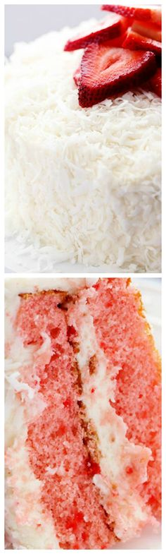 Strawberry Coconut Cream Cake with Coconut Cream Cheese Frosting ~ A delicious and moist strawberry coconut cream cake with an amazing coconut cream cheese frosting!