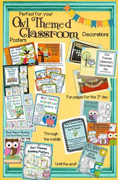 Owl Themed Classroom Mega Bundle! Perfect for your owl themed classroom! Owl themed graphic organizers, grammar and punctuation posters, book report banners, and much, much more! Everything you need for your owl themed classroom in one place! Posters, graphic organizers, Owl About Me packet, and more! $