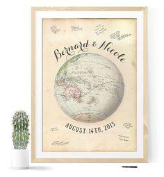 Wedding Guest Book Vintage Travel Map Wedding by MDBWeddings