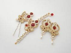 Gold and ivory  soutache set: bracelet, earrings and hairpin with Swarovski crystals and pearls