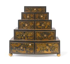 A Regency black japanned penwork graduated table chest of drawers circa 1815 - Sotheby's