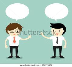 Business concept, two businessmen talking. Vector illustration.