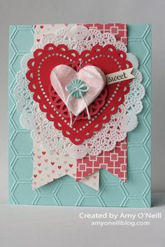valentine card, heart, doilies, by Amy O'Neill, Amy's Paper Crafts Valentine Love Cards, Valentine Crafts, Cute Cards, Diy Cards, Stampin Up Weihnachten, Heart Cards, Card Tags, Creative Cards, Anniversary Cards