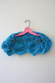 bright azure blue handmade crochet, shrug scarf scarflete wrap shawl cardigan, short sleeve, lacy shells, wedding bridal something blue