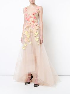 Shop Marchesa Notte floral embroidered flared dress