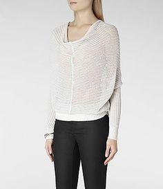 Womens Ernst Cowl Sweater (Mist)   ALLSAINTS.com
