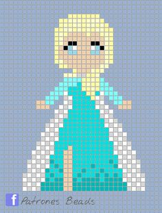 Queen Elsa - Frozen Pearl Pattern - Pearl Pattern / Templates for Hama - Stitching Projects Perler Bead Designs, Pearler Bead Patterns, Perler Patterns, Loom Patterns, Beading Patterns, Hama Beads Disney, Perler Beads, Perler Bead Art, Beaded Cross Stitch