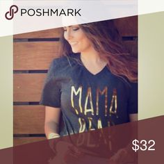 Mama Bear t-shirt Triblend - charcoal - Vneck with the very popular gold foil print! Tops Tees - Short Sleeve