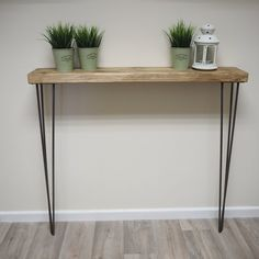 Rustic Narrow console table with hairpin legs, wooden rustic hallway table Narrow Console Table, Wooden Console Table, Table Shelves, Rustic Hallway Table, Entryway Tables, Tables Étroites, Garderobe Design, Radiator Cover, Hairpin Legs