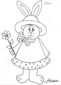 risco para pintura - pascoa Easter Activities, Easter Crafts For Kids, Animal Coloring Pages, Coloring Book Pages, Tole Painting, Fabric Painting, Free Adult Coloring, Easter Colouring, Shrink Art