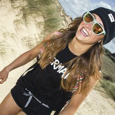 Smiling in shades! Nectar sunnies <3 Whole outfit Available at the Beach Boutique! http://surfgirlbeachboutique.com/search?q=nectar http://surfgirlbeachboutique.com/products/lovaine-mermaid-vest