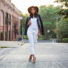 American Eagle White Denim, Guess? Cheetah Heels, Express Leather Jacket