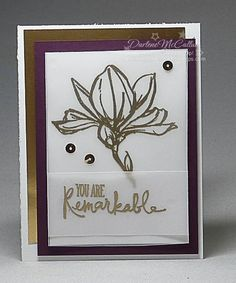 Remarkable You Gold Card by dreamingaboutrubberstamps.com - The Remarkable You stamp set from Stampin' Up! makes a clean and simple metallic card with gold foil sheets, gold embossing powder and gold sequin trim