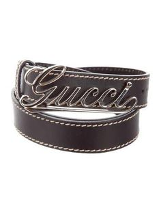 #xmas #Christmas #The RealReal - #Gucci Gucci Silver-Tone Leather Belt - AdoreWe.com