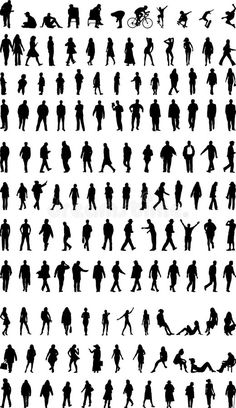 Lots of people silhouettes. Lots of men,women and children silhouettes , Site Analysis Architecture, Architecture Concept Drawings, Architecture Tattoo, Architecture People, Architecture Graphics, People Illustration, Fish Illustration, Vector Illustrations, Graphics Vintage
