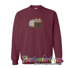 Pusheen Reading sweatshirt from besteeshirt.com This sweatshirt is Made To Order, one by one printed so we can control the quality.