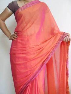 I found this beautiful design on http://www.mirraw.com/designers/chiro/designs/orange-chiffon-saree-chiffon-saree